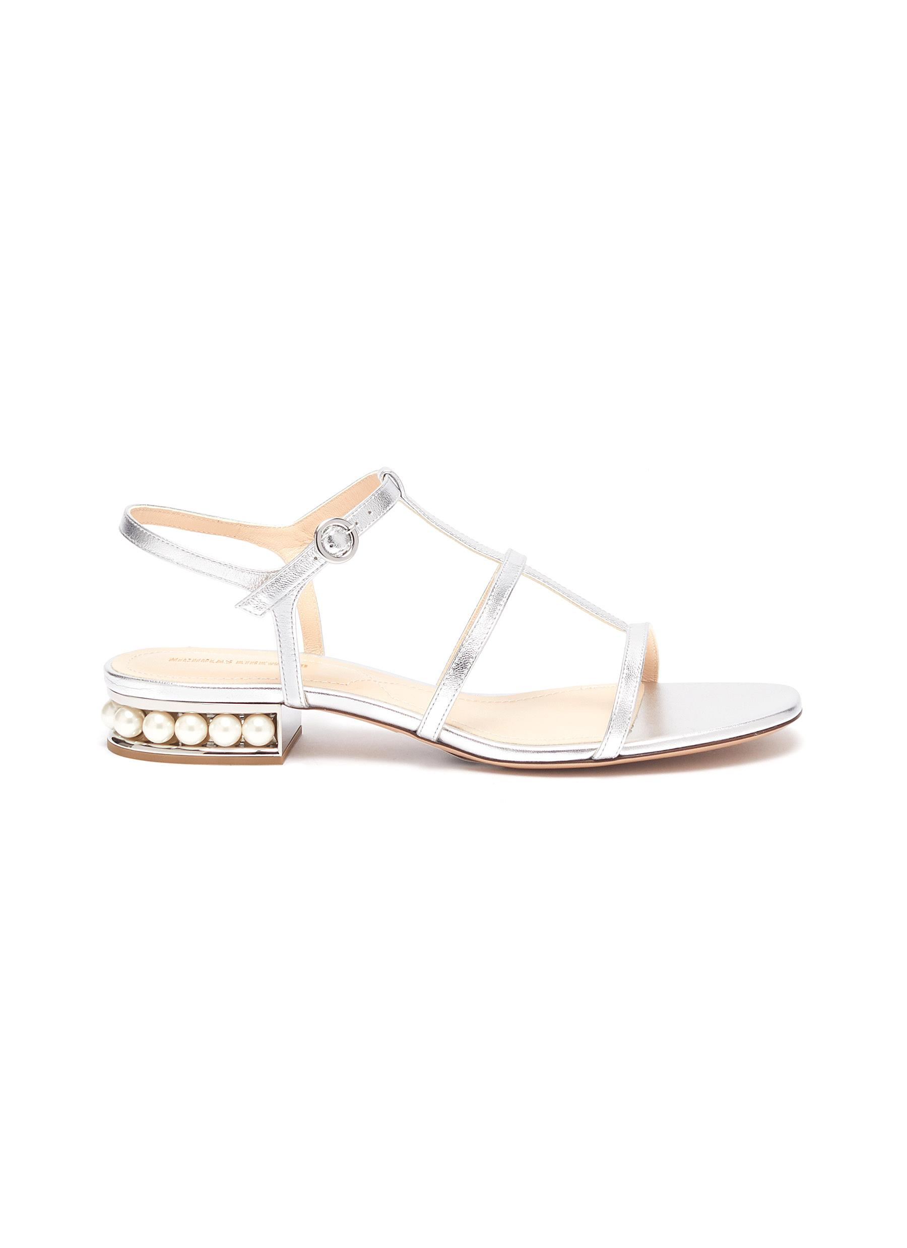 Nicholas Kirkwood Flats Casati faux pearl heel metallic leather sandals