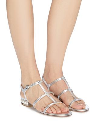 Figure View - Click To Enlarge - NICHOLAS KIRKWOOD - 'Casati' faux pearl heel metallic leather sandals