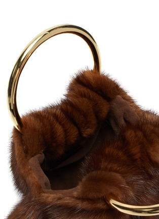 Detail View - Click To Enlarge - SIMONETTA RAVIZZA - 'Furrissima Puff' ring handle mink fur sac bag