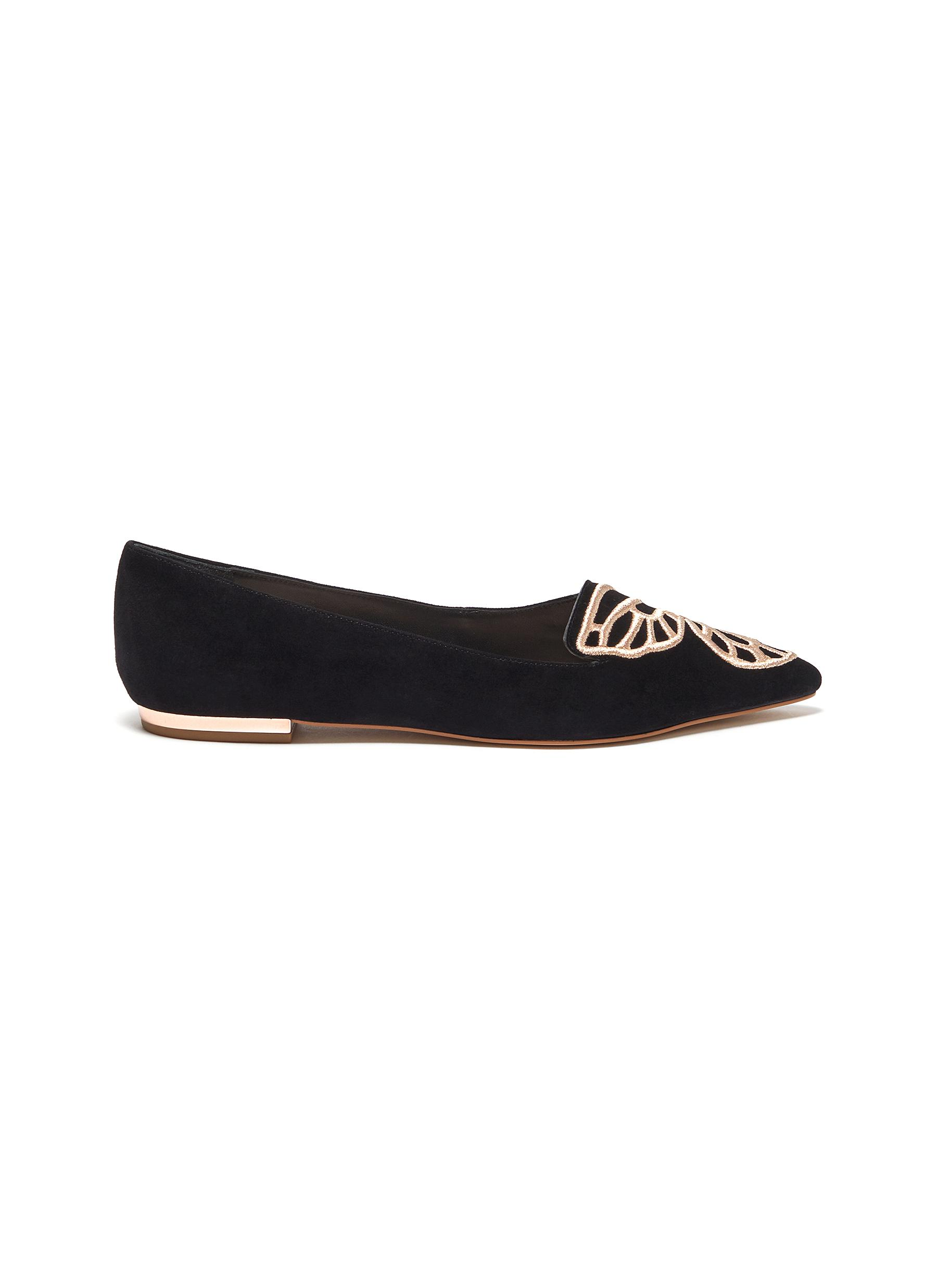 Sophia Webster Flats Bibi Butterfly wing embroidered suede flats
