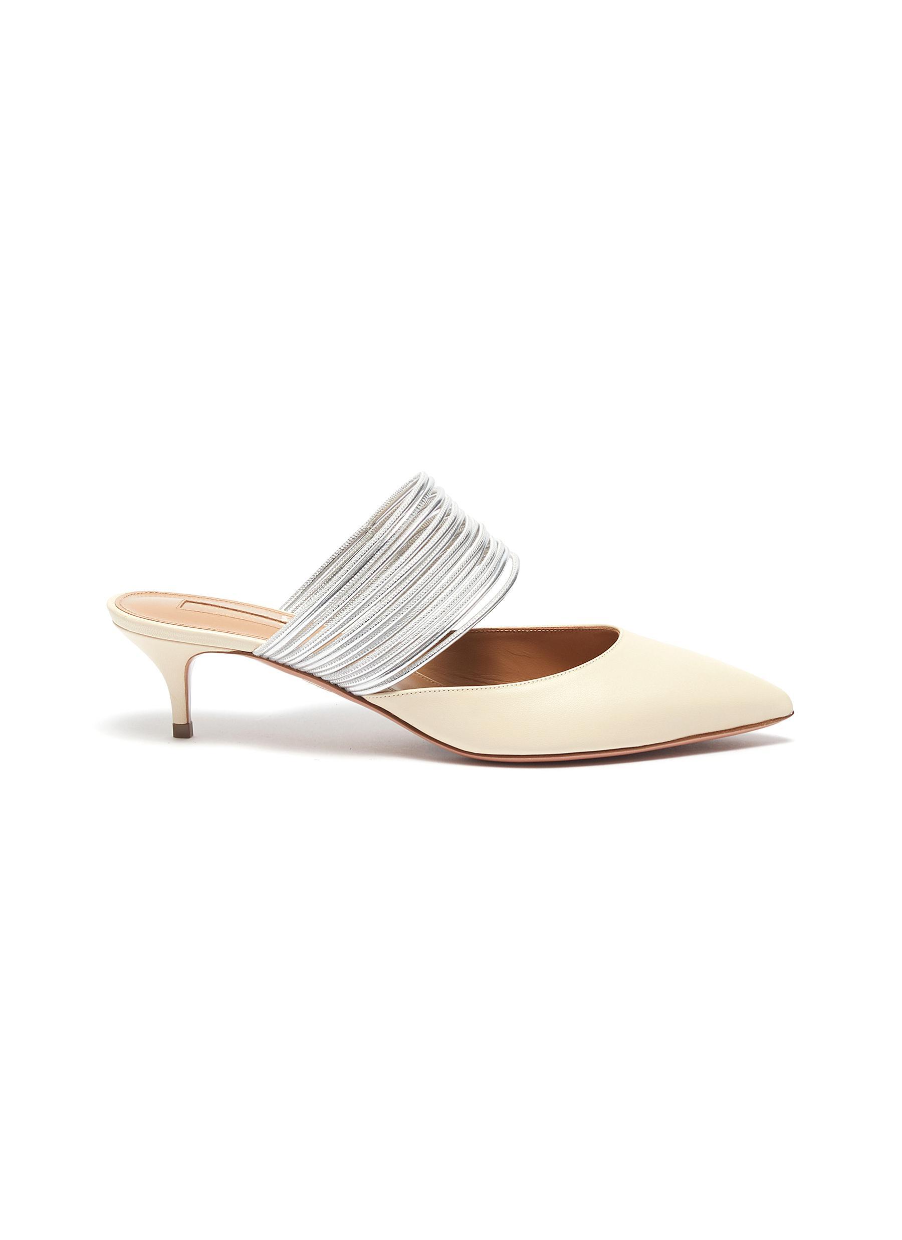 Aquazzura Low Heels Rendez Vous metallic strap leather mules