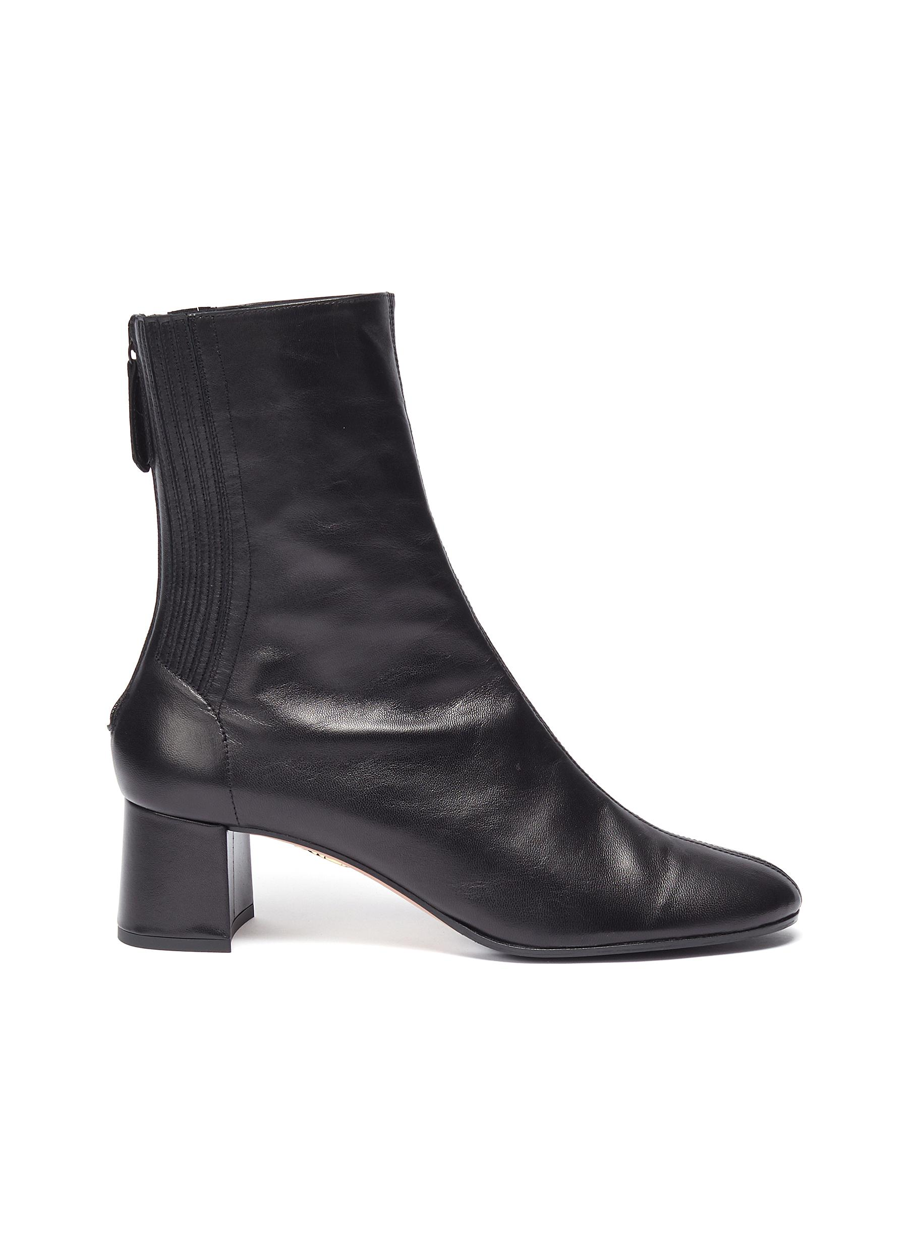 Aquazzura Boots Saint Honore panelled leather block heel ankle boots