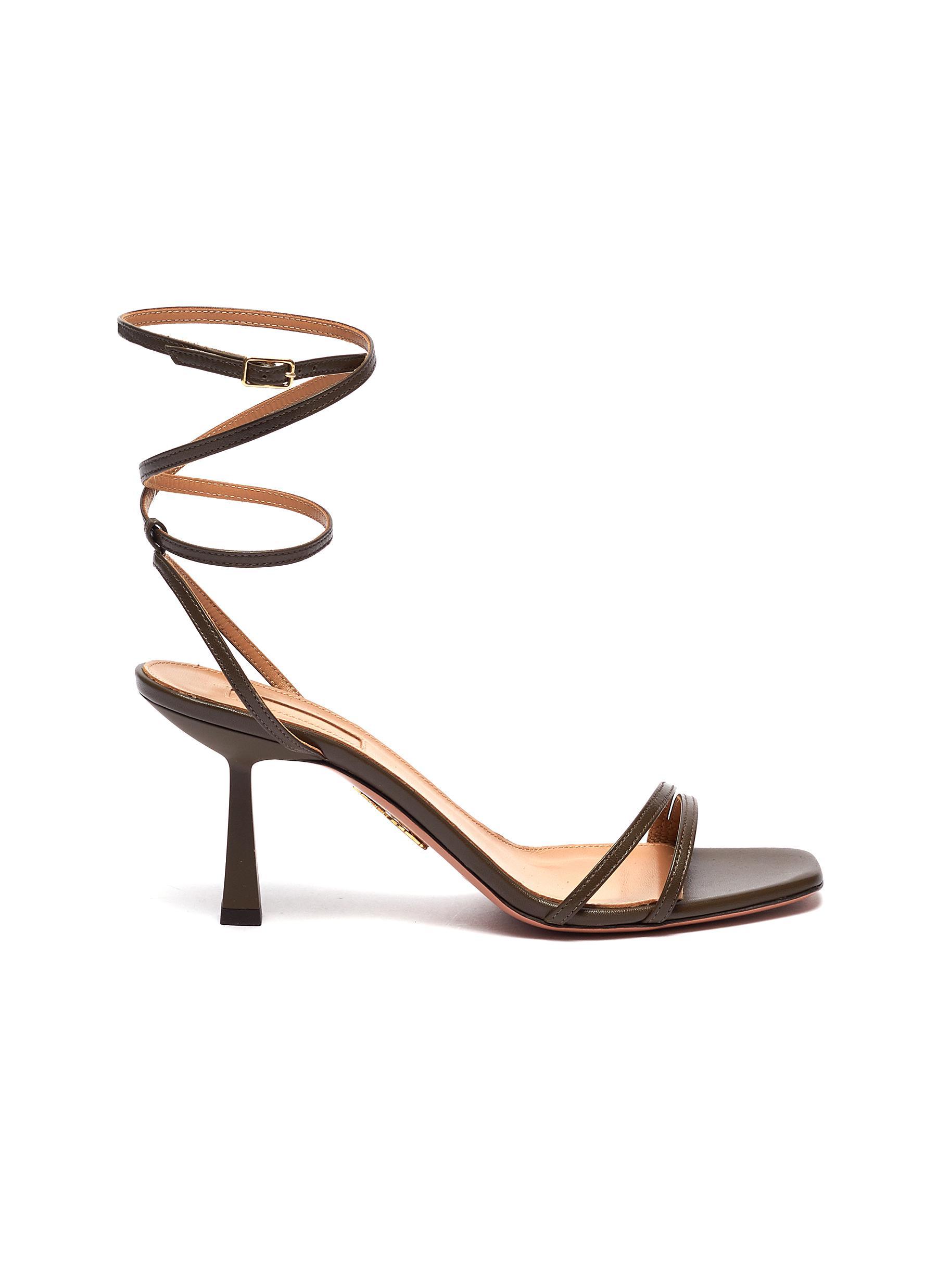 Aquazzura Mid Heels Isabel Ankle Strap Leather Sandals