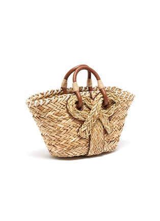 Detail View - Click To Enlarge - ANYA HINDMARCH - Bow embellished small natural seagrass woven basket