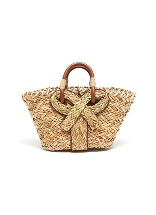 Main View - Click To Enlarge - ANYA HINDMARCH - Bow embellished small natural seagrass woven basket