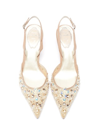 Detail View - Click To Enlarge - RENÉ CAOVILLA - Strass lace slingback pumps