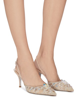 Figure View - Click To Enlarge - RENÉ CAOVILLA - Strass lace slingback pumps