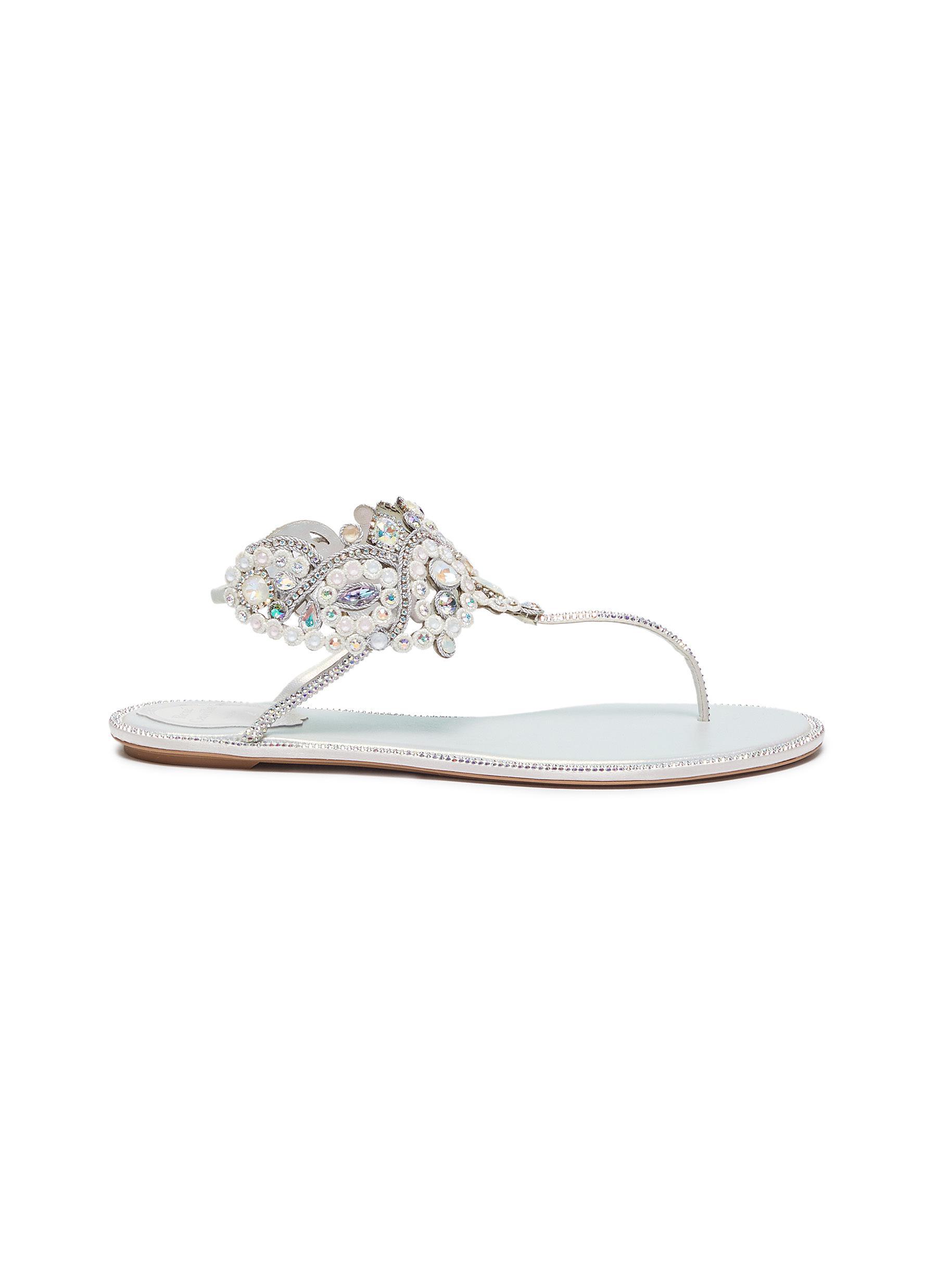 René Caovilla Flats Veneziana embellished satin thong sandals