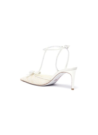 - RENÉ CAOVILLA - Strass lace satin t-strap slingback pumps
