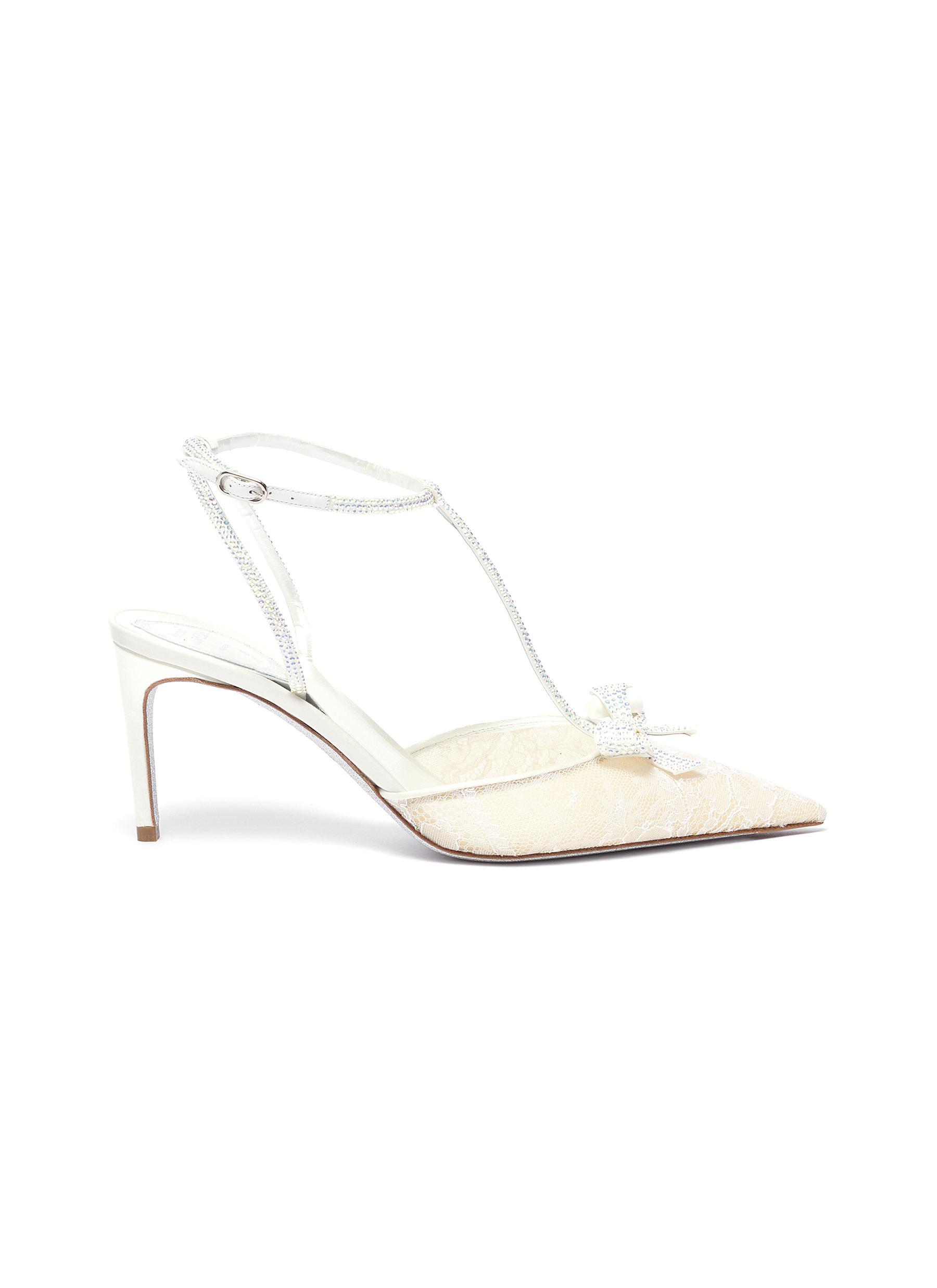 René Caovilla High Heels Strass lace satin t-strap slingback pumps