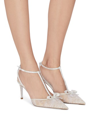 Figure View - Click To Enlarge - RENÉ CAOVILLA - Strass lace satin t-strap slingback pumps