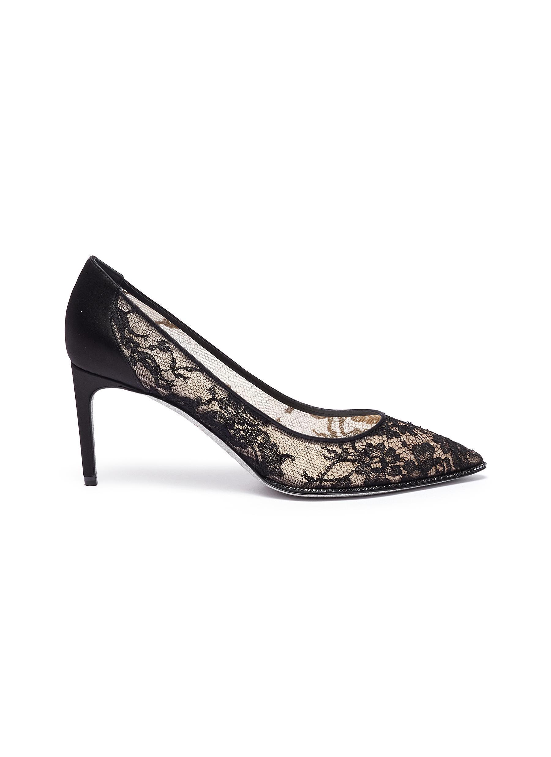 René Caovilla High Heels Hematite strass lace pumps
