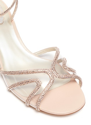 Detail View - Click To Enlarge - RENÉ CAOVILLA - Strass embellished satin block heel sandals