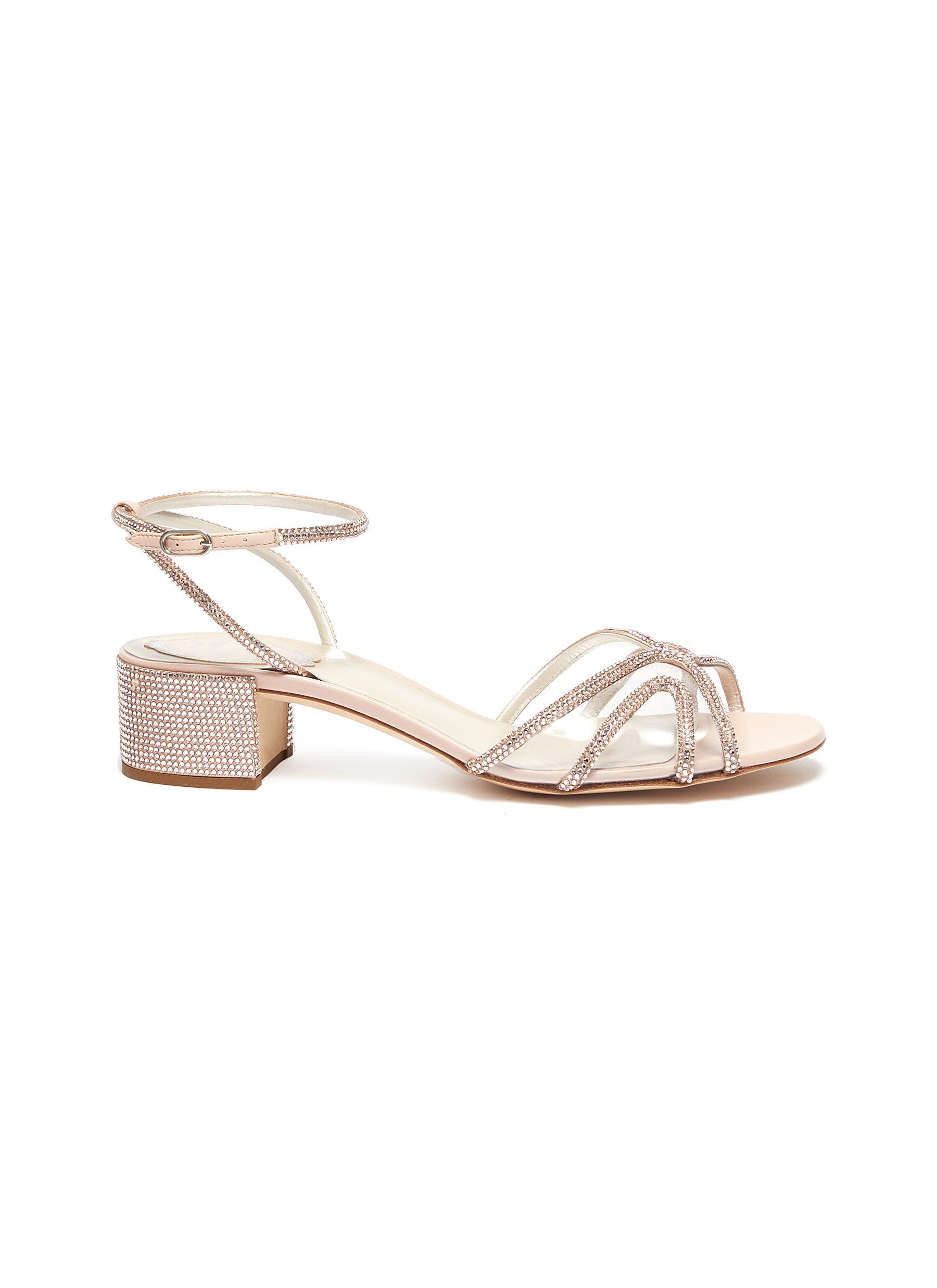 René Caovilla Low Heels Strass embellished satin block heel sandals