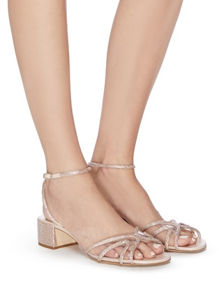 Figure View - Click To Enlarge - RENÉ CAOVILLA - Strass embellished satin block heel sandals