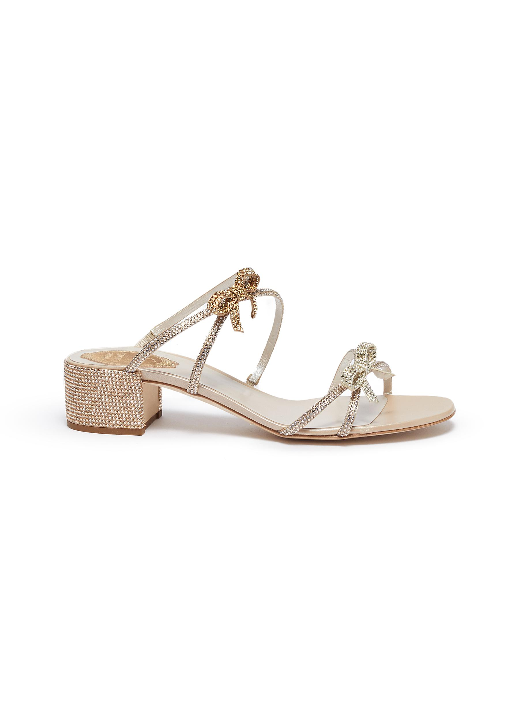 René Caovilla Low Heels Bow cross strap strass embellished sandals