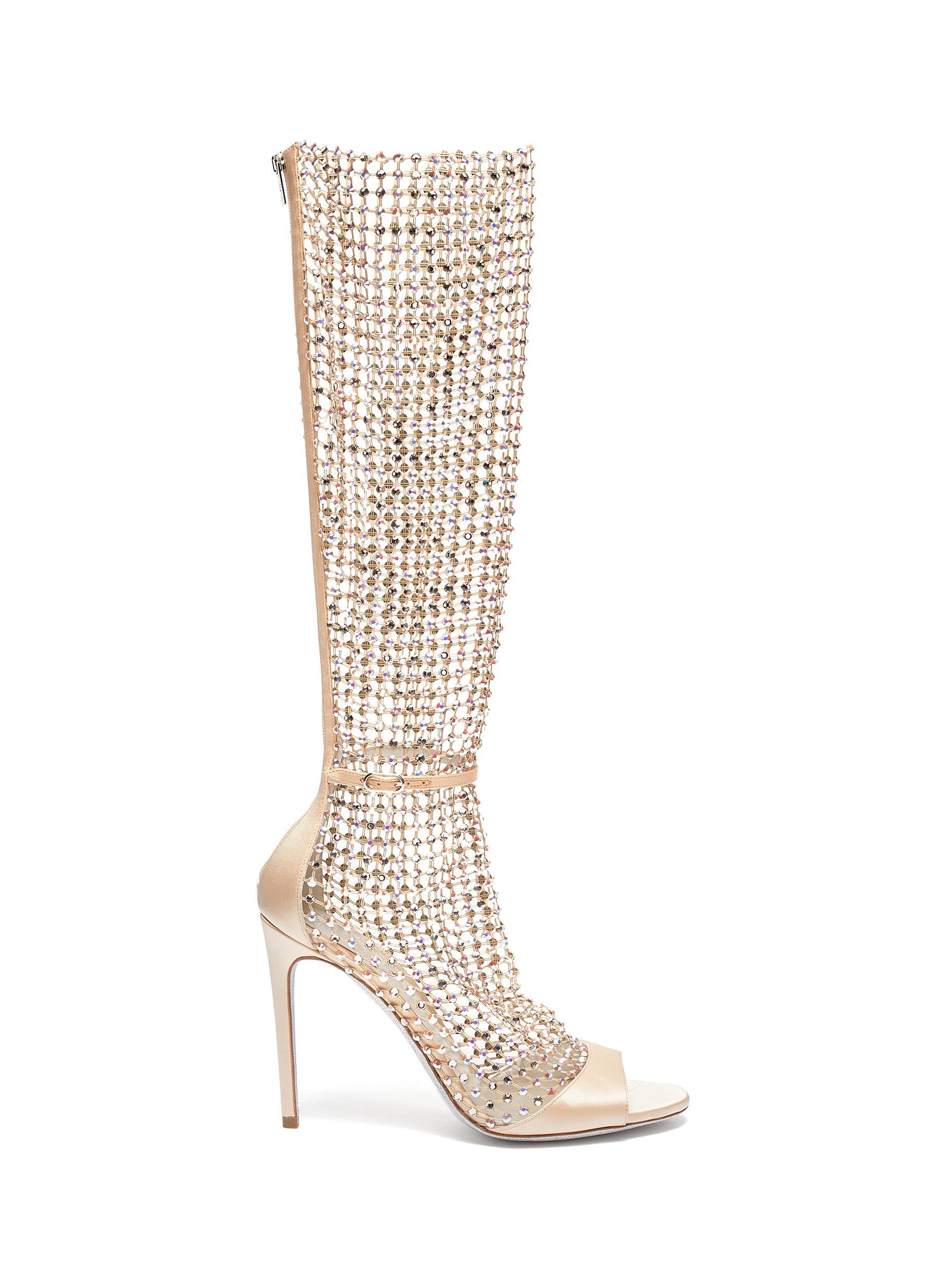 René Caovilla High Heels Galaxia strass cage satin sandals