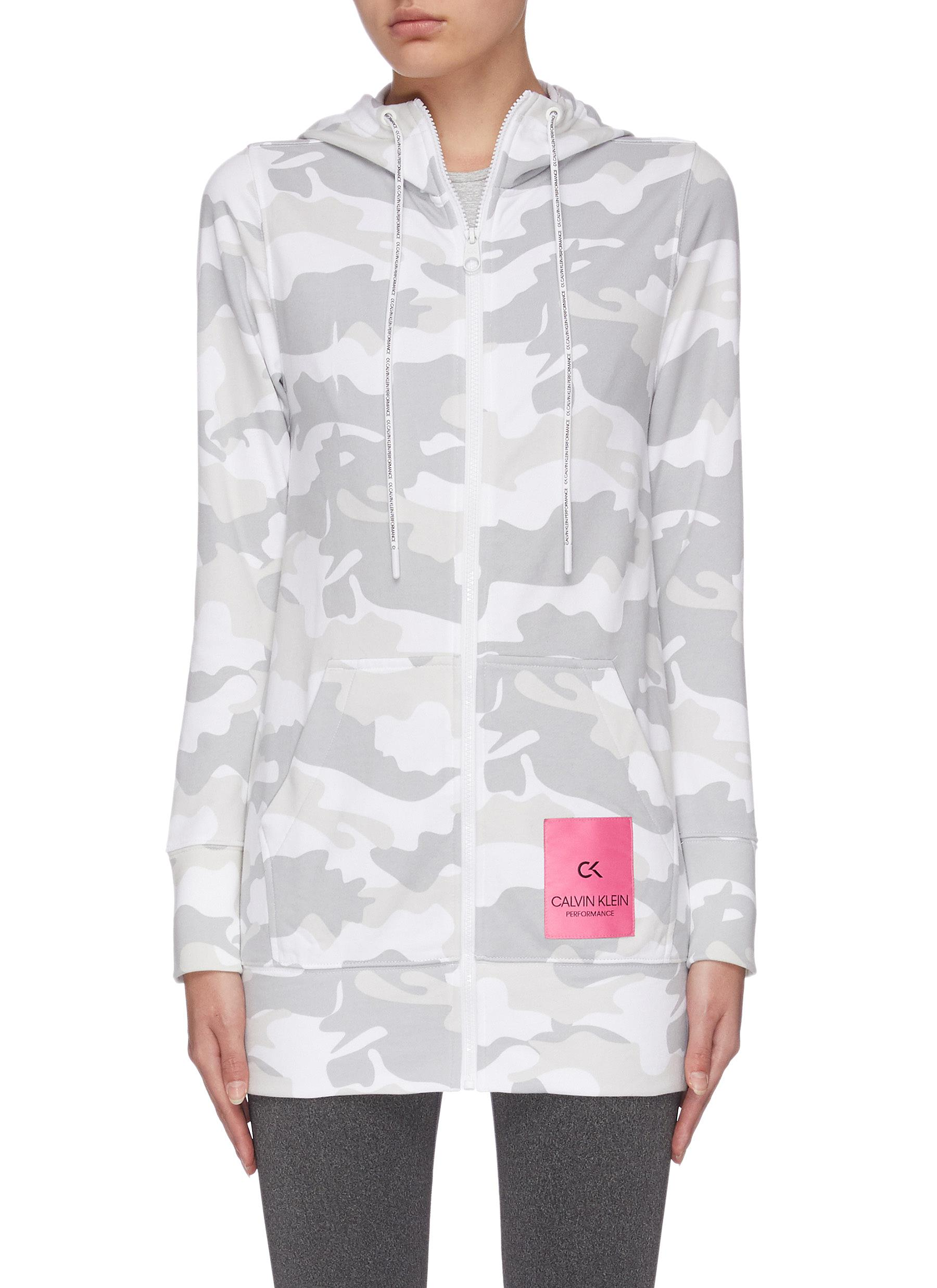shop Calvin Klein Performance Camo print hooded jacket online