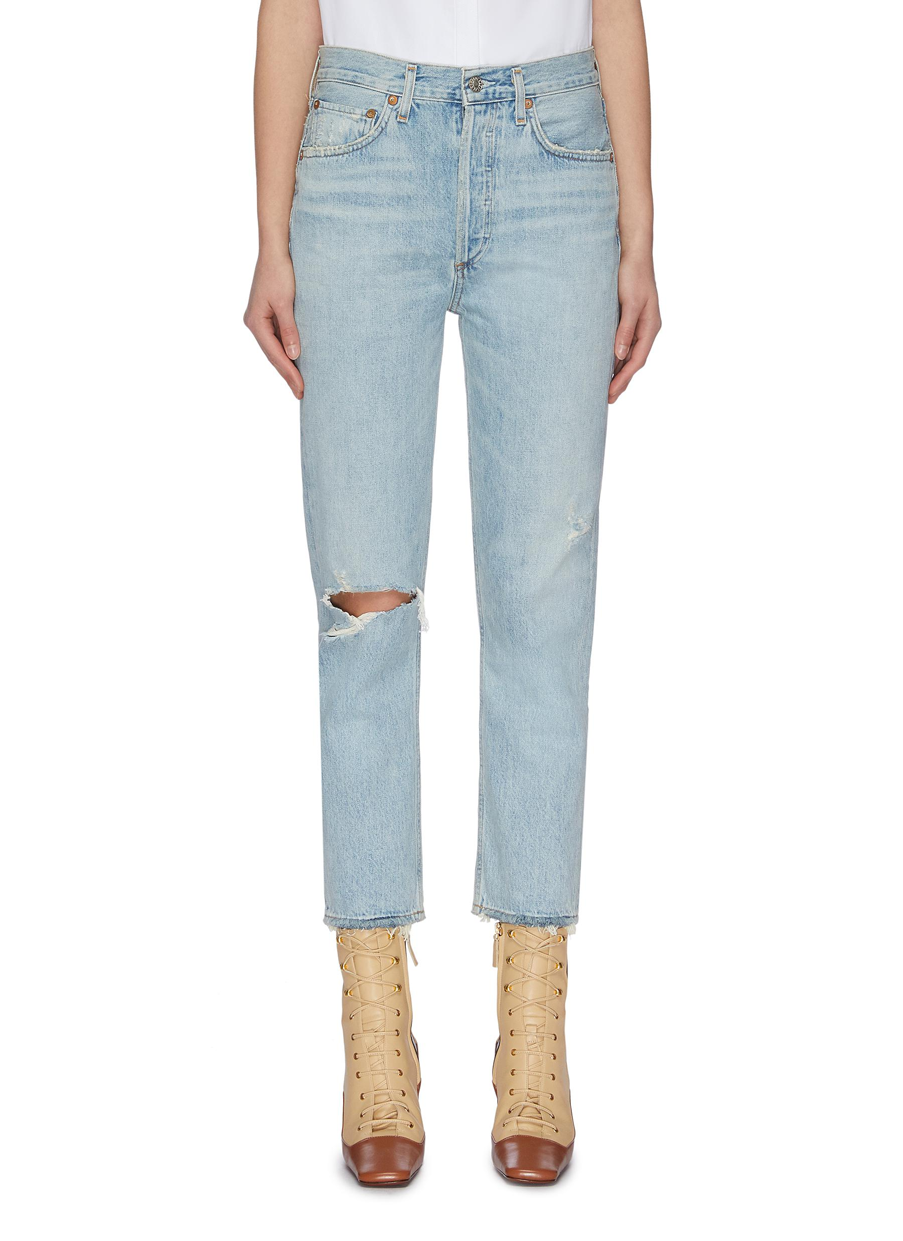 shop Agolde 'Riley' ripped knee cropped jeans online