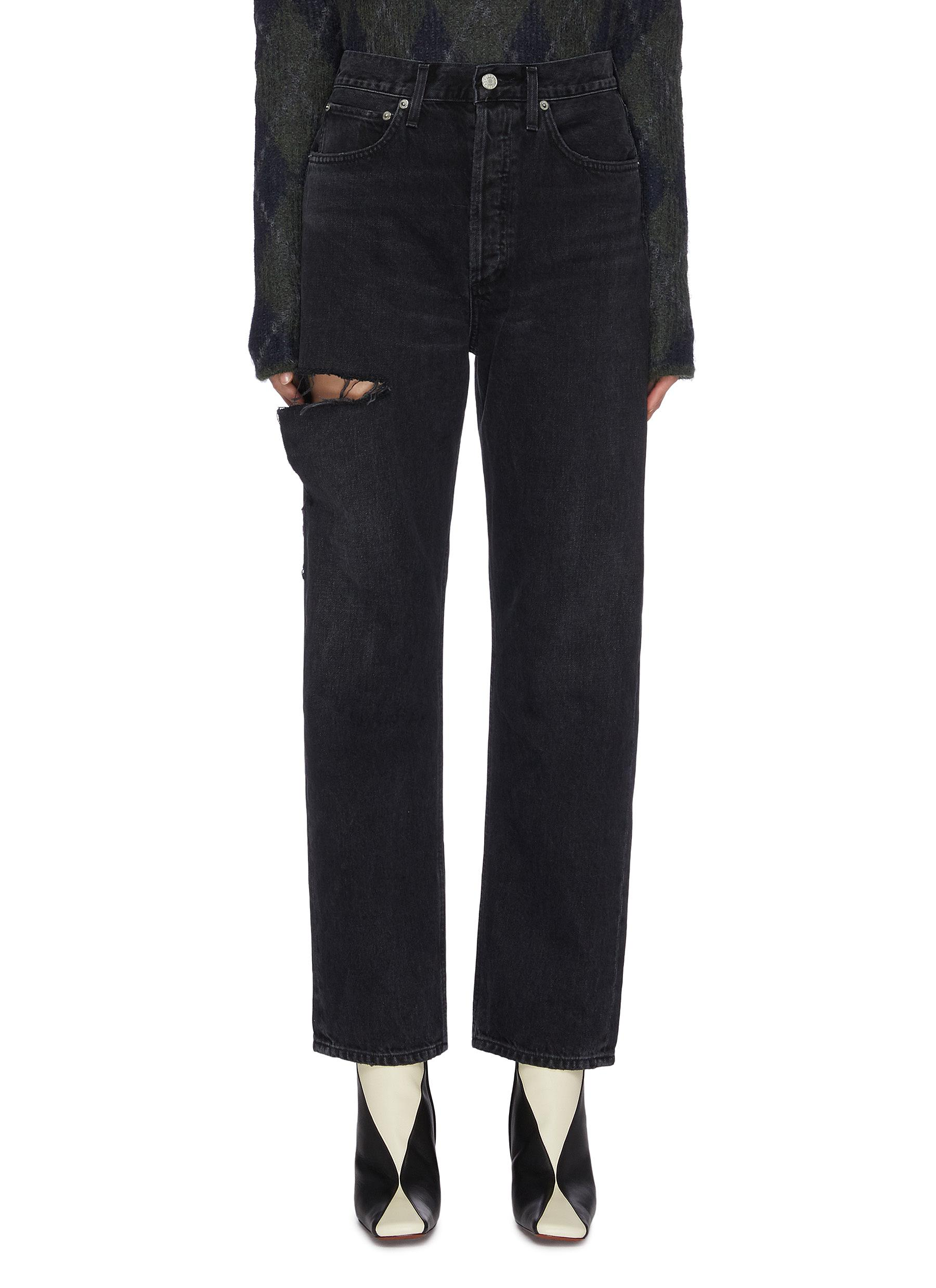 Buy Agolde Jeans '90s' ripped thigh straight leg jeans