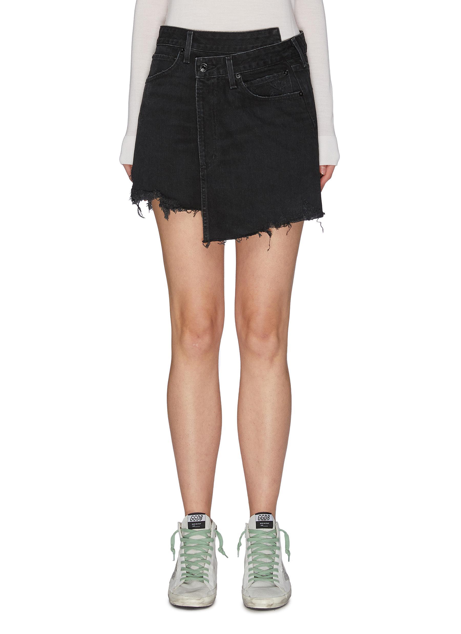 shop Agolde Criss Cross' denim skirt online