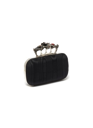 Detail View - Click To Enlarge - ALEXANDER MCQUEEN - Butterfly JEWELLED MOIRE SATIN KNUCKLE CLUTCH