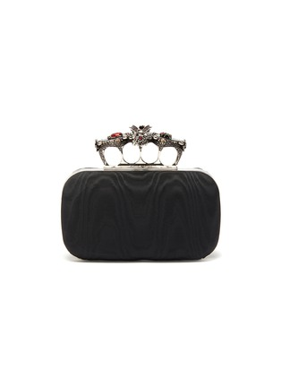 Main View - Click To Enlarge - ALEXANDER MCQUEEN - Butterfly JEWELLED MOIRE SATIN KNUCKLE CLUTCH