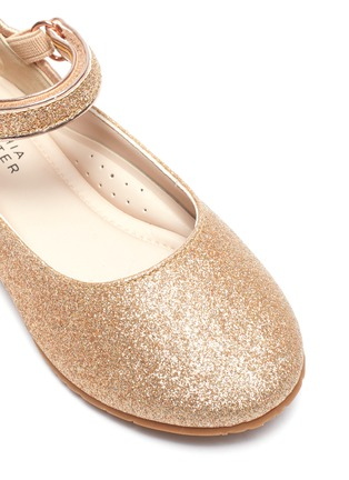 Detail View - Click To Enlarge - SOPHIA WEBSTER - 'Chiara' wing APPLIQUÉ metallic kids ballerina flats