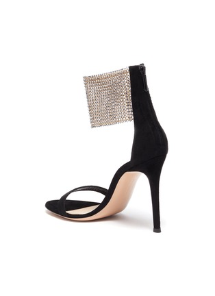 - GIANVITO ROSSI - 'Adore' crystal net ankle strap suede sandals