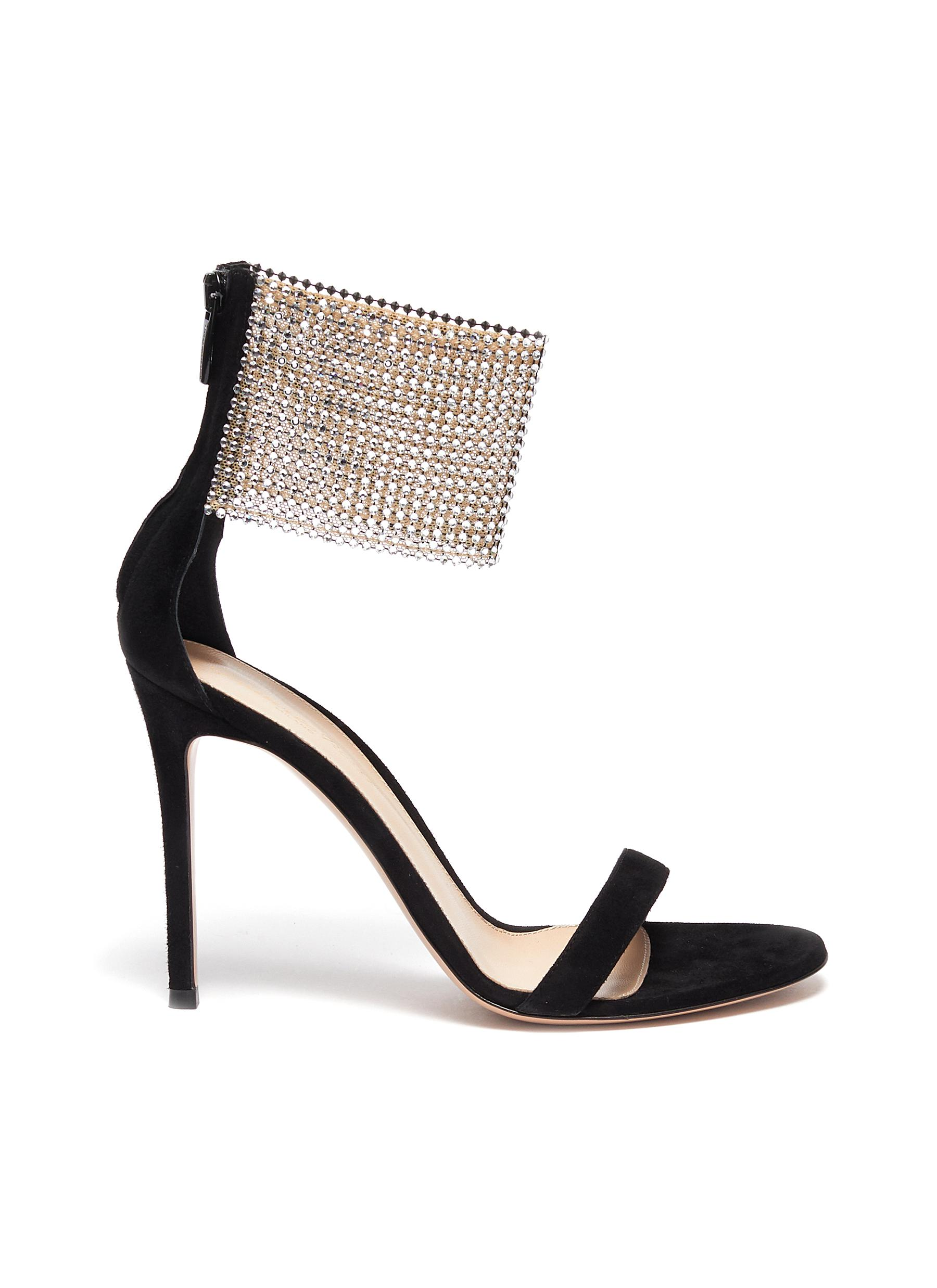 Gianvito Rossi High Heels Adore crystal net ankle strap suede sandals