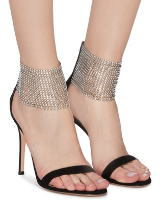 Figure View - Click To Enlarge - GIANVITO ROSSI - 'Adore' crystal net ankle strap suede sandals