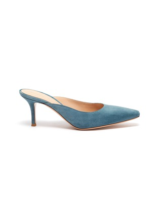 Main View - Click To Enlarge - GIANVITO ROSSI - Suede leather mules