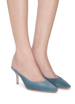 Figure View - Click To Enlarge - GIANVITO ROSSI - Suede leather mules