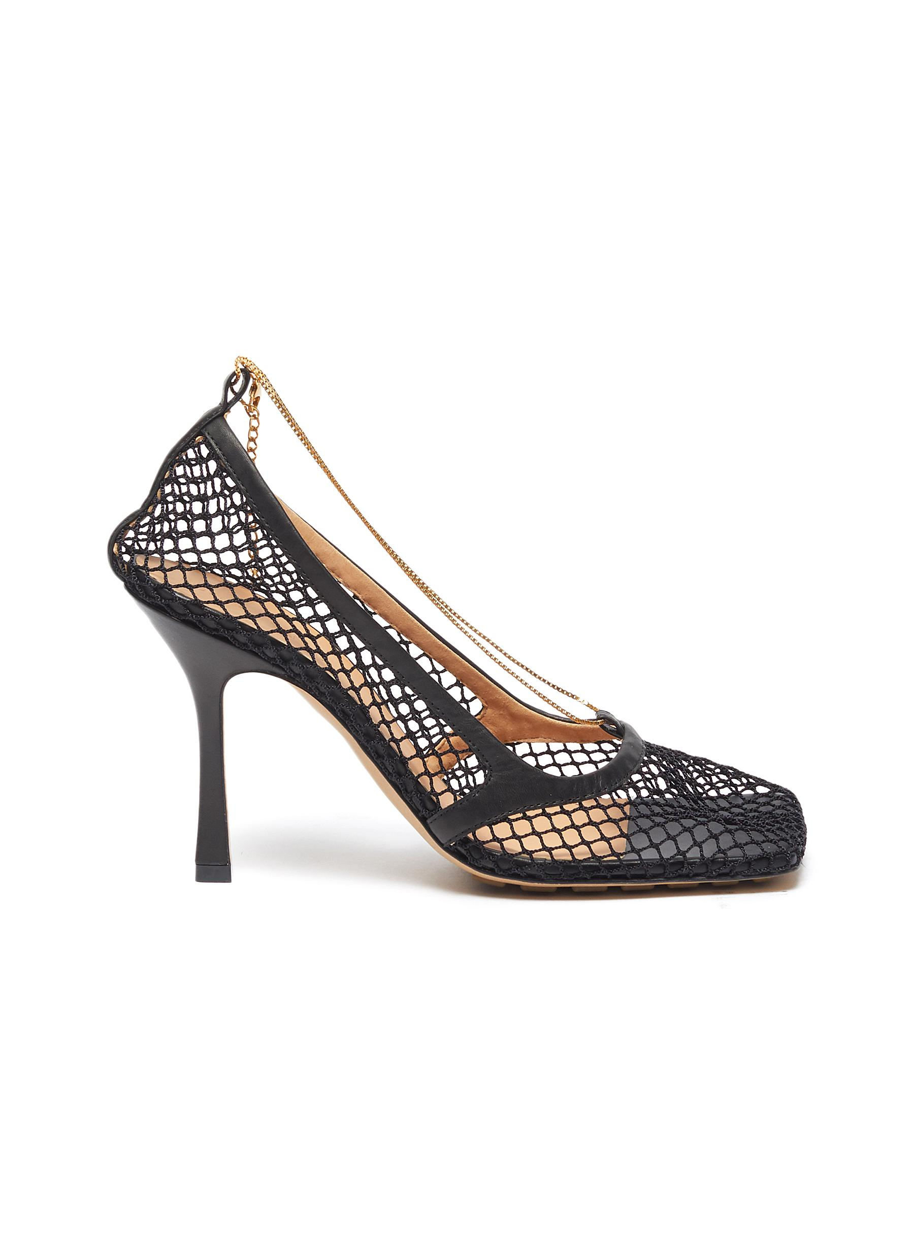 shop Bottega Veneta Chain embellished mesh square toe pumps online