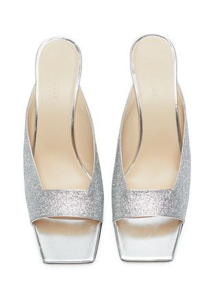 Detail View - Click To Enlarge - WANDLER - 'Isa' square vamp glitter sandals