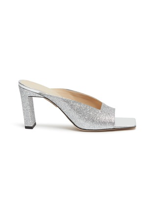 Main View - Click To Enlarge - WANDLER - 'Isa' square vamp glitter sandals