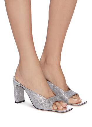 Figure View - Click To Enlarge - WANDLER - 'Isa' square vamp glitter sandals