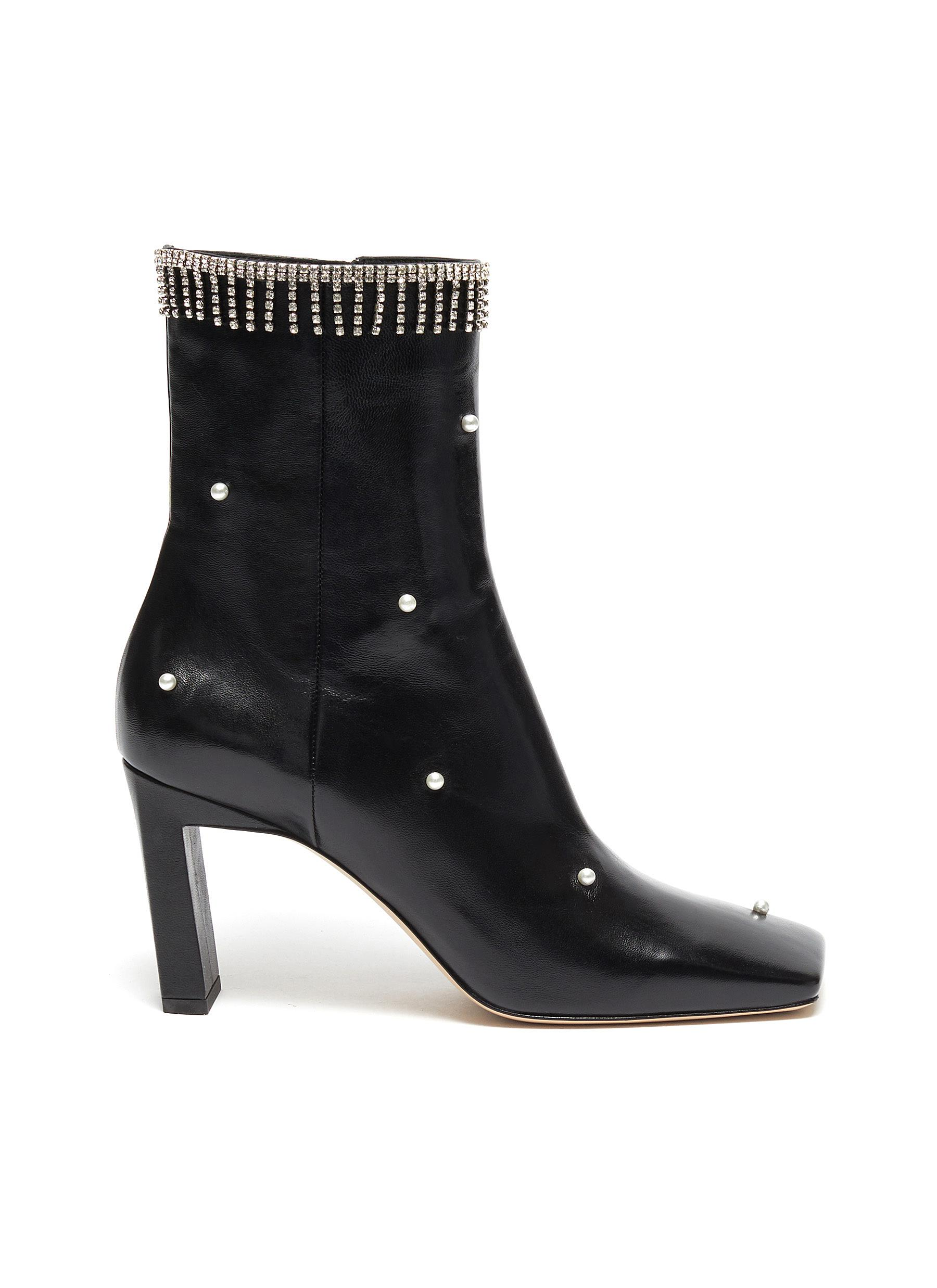 shop Wandler 'Isa' faux pearl strass fringe leather boots online