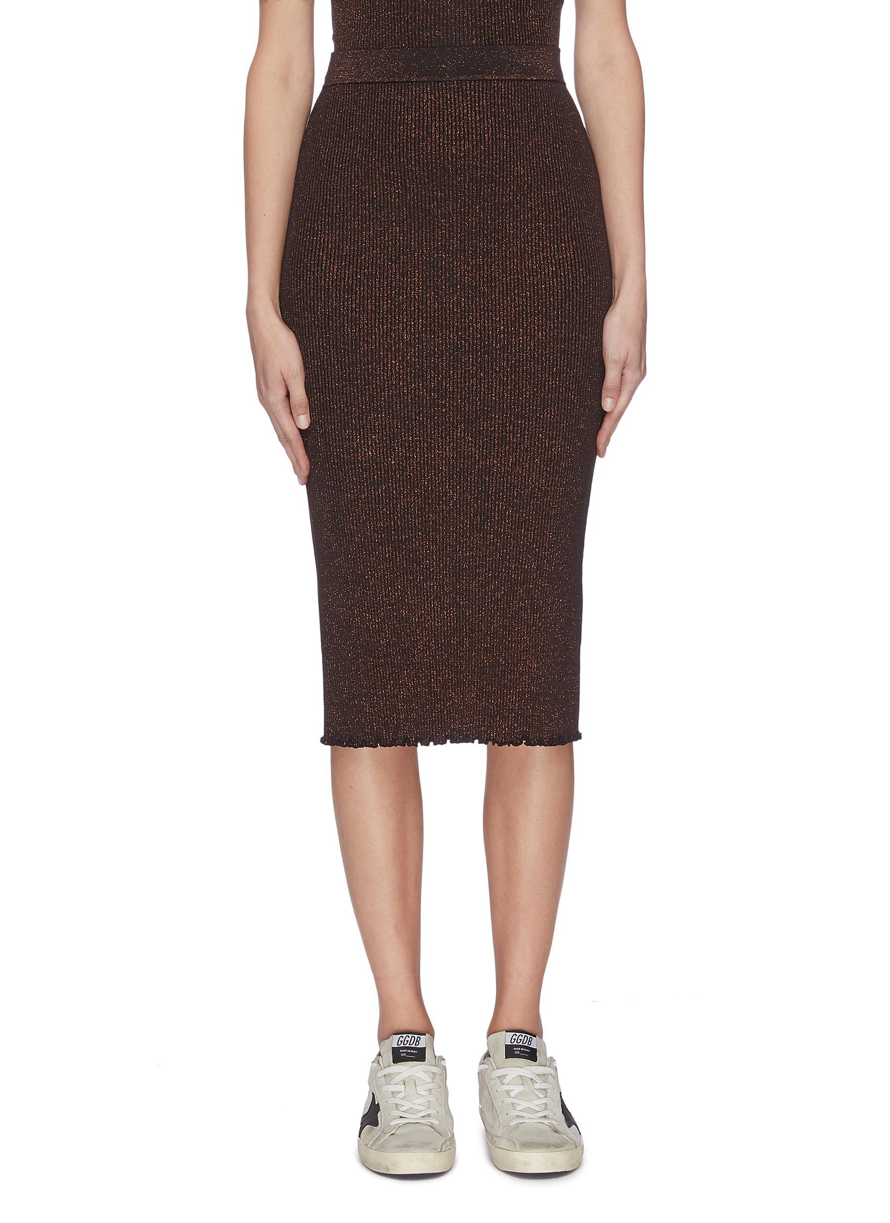 shop Alexanderwang.T Rib knit ruffle hem sparkle embellished skirt online