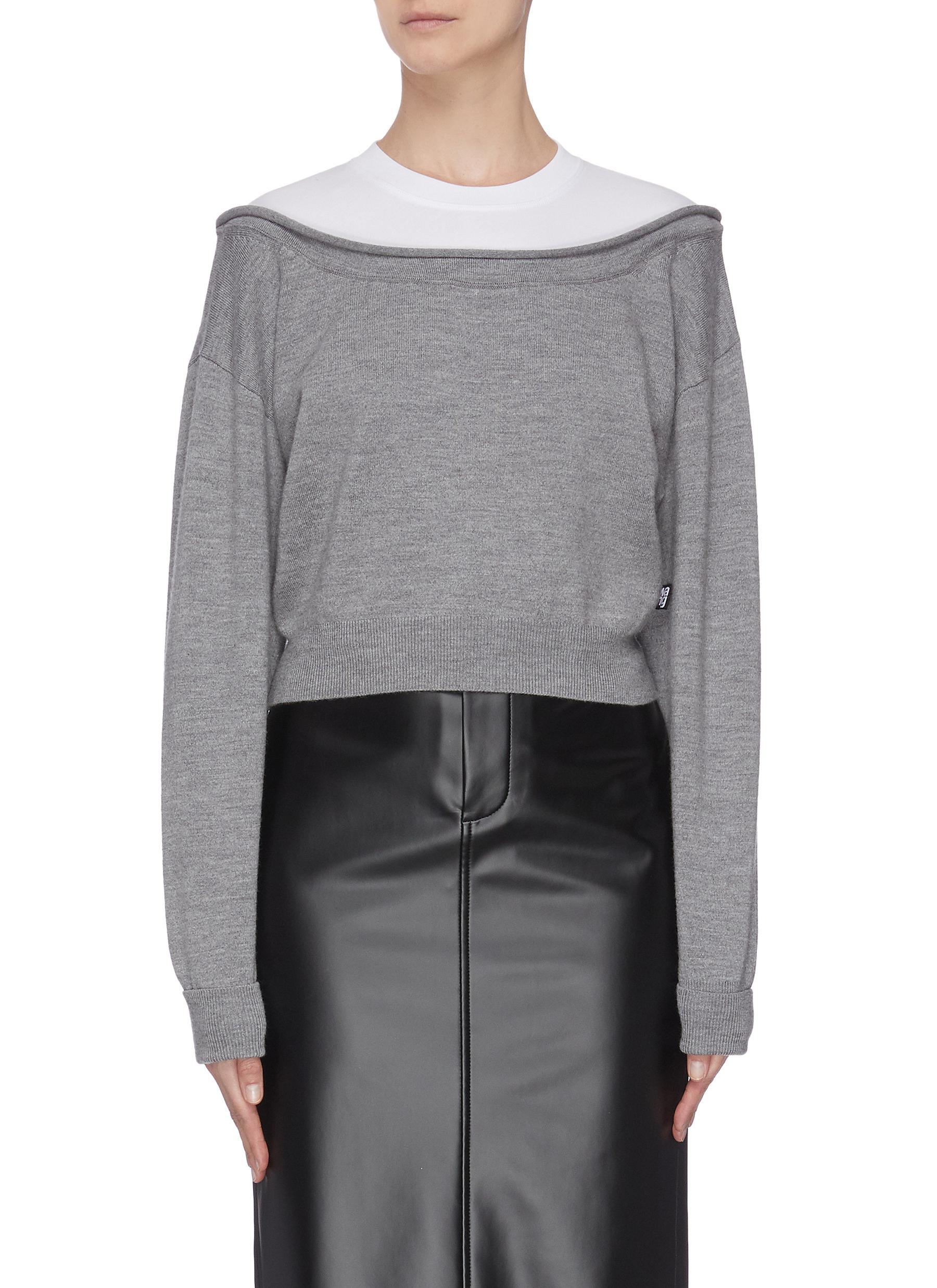 shop Alexanderwang.T Peelaway bi-layer cropped sweatshirt online