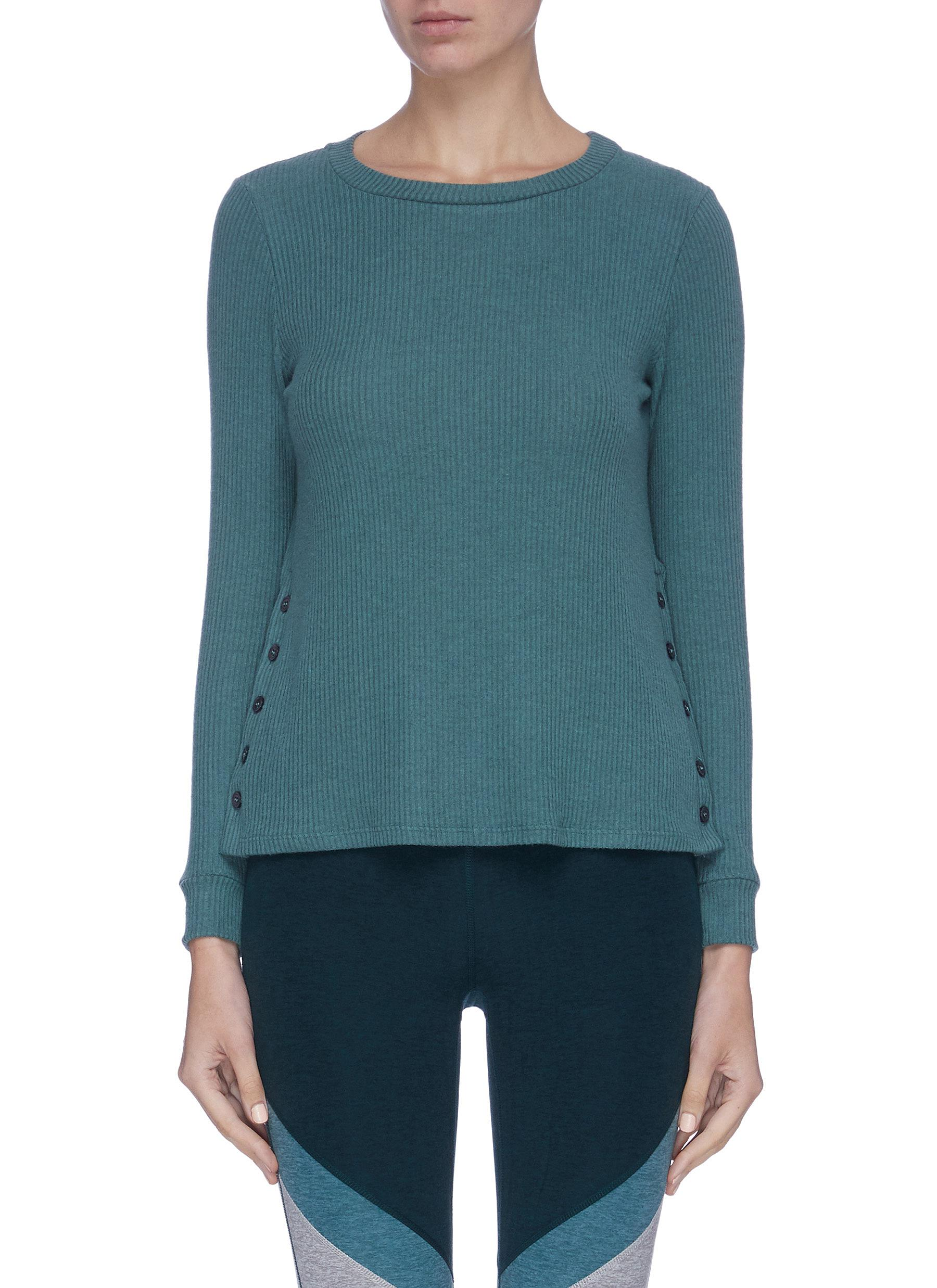 shop Beyond Yoga 'Your Line' button side ribbed sweater online