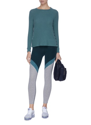 Figure View - Click To Enlarge - BEYOND YOGA - 'Your Line' button side ribbed sweater