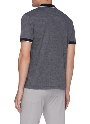 Back View - Click To Enlarge - THEORY - Geometric Knit Polo Shirt