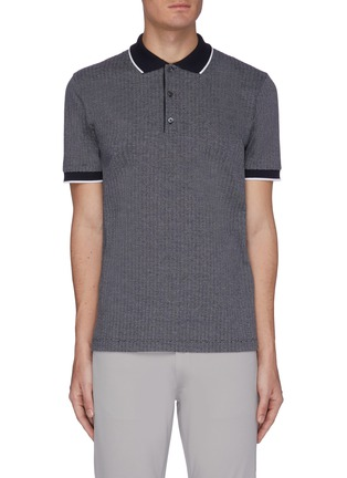 Main View - Click To Enlarge - THEORY - Geometric Knit Polo Shirt
