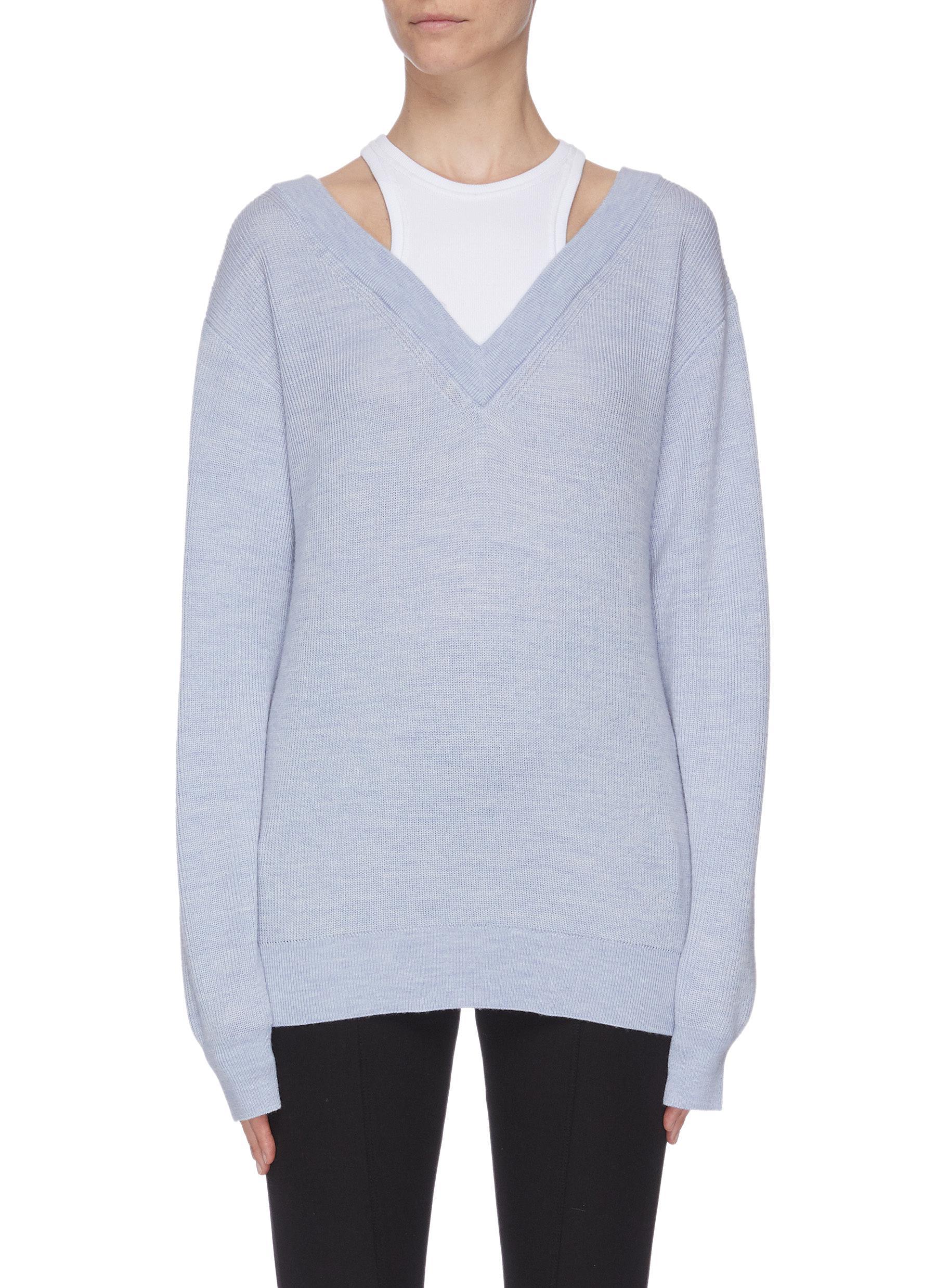 shop Alexanderwang.T Contrast panel top V neck sweater online