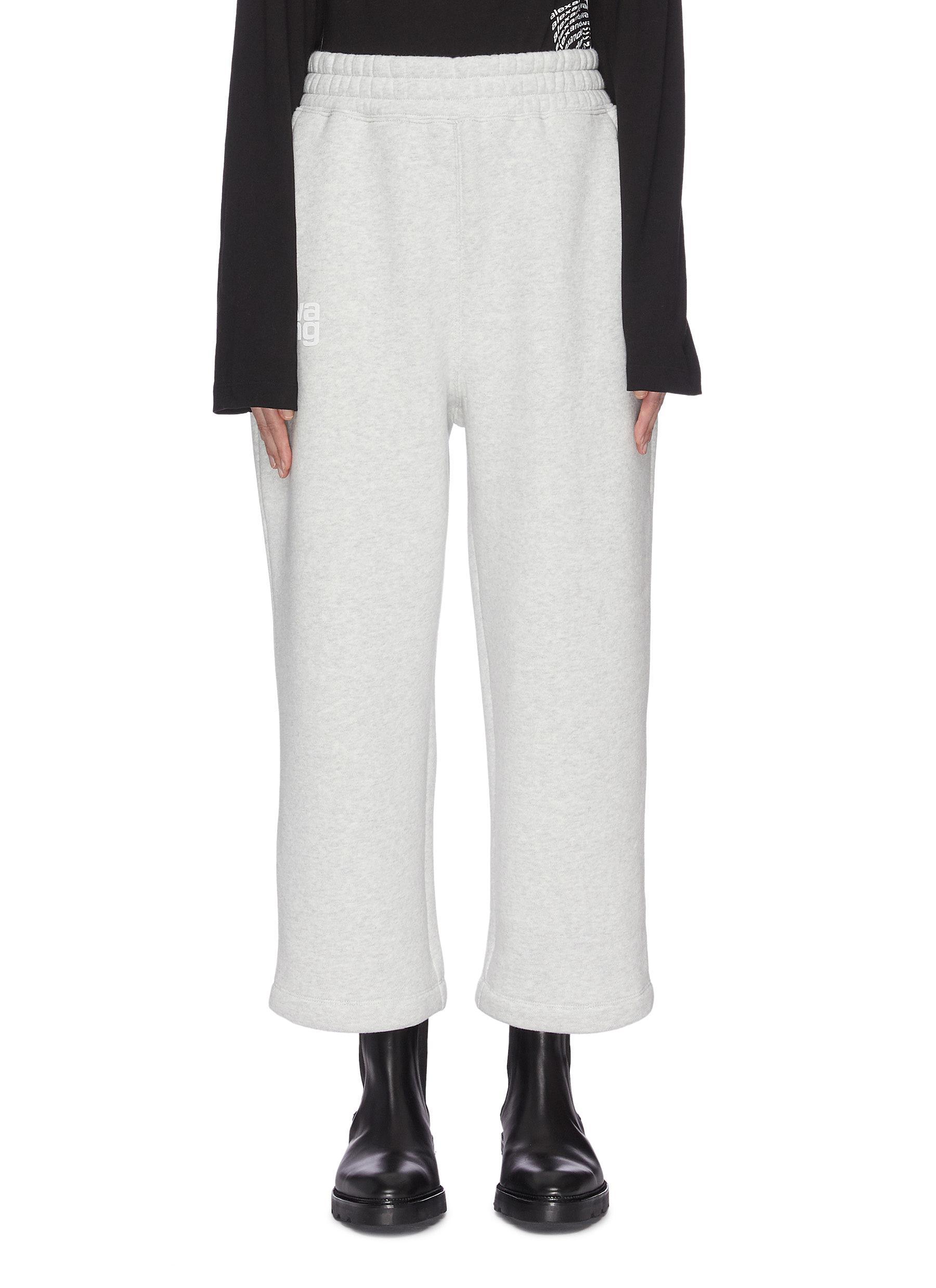 shop Alexanderwang.T Dense fleece oversized logo print sweatpants online