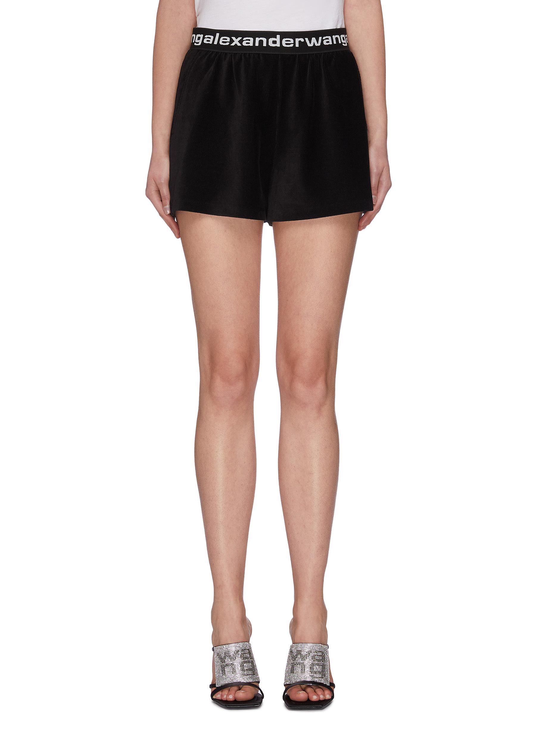 shop Alexanderwang.T Logo waistband corduroy shorts online