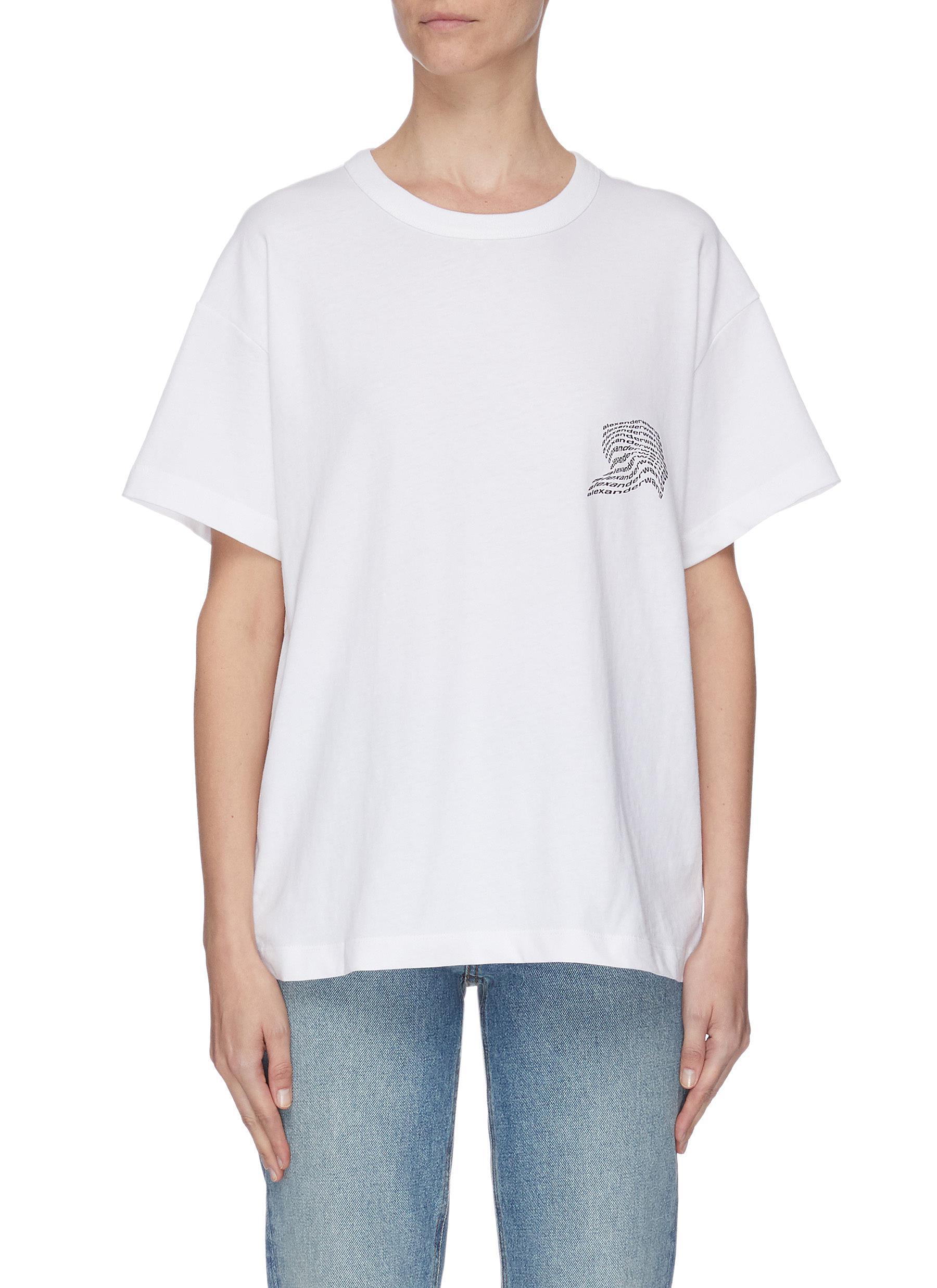 shop Alexanderwang.T Warped logo print T-shirt online