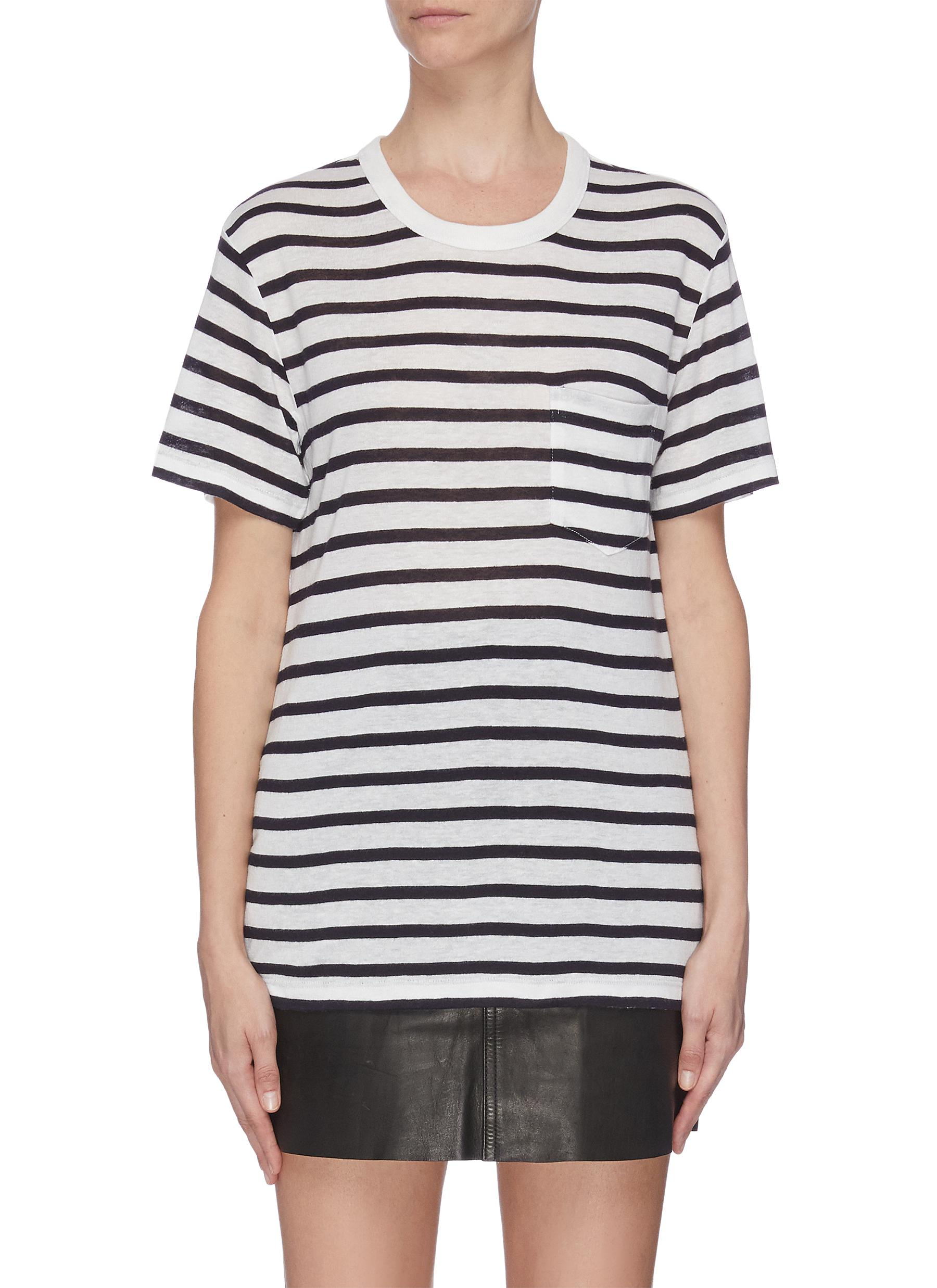 Buy Alexanderwang.T Tops Striped chest pocket T-shirt