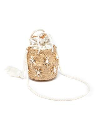 Detail View - Click To Enlarge - LE NINÈ - 'Carol' small shell embellished tassel strap basket bag